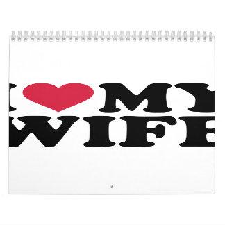 Amo el corazón mi esposa calendario