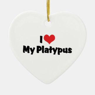 Amo el corazón mi Platypus Adorno Navideño De Cerámica En Forma De Corazón