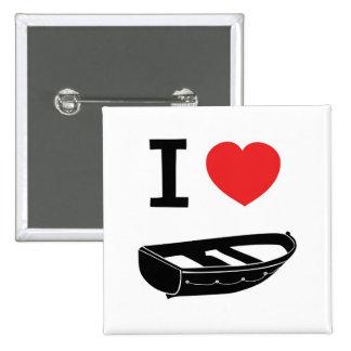 Amo el corazón mi rowing/barco de fila pin cuadrado