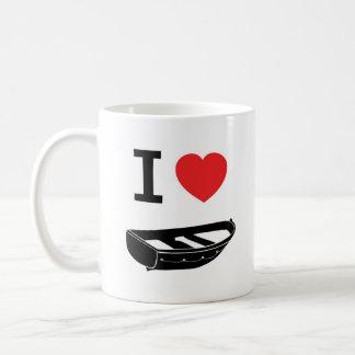 Amo el corazón mi rowing/barco de fila taza básica blanca