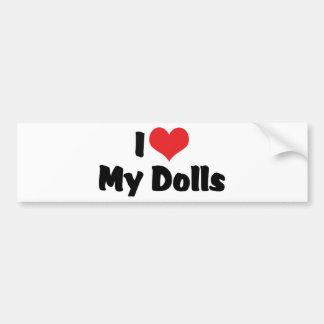 Amo el corazón mis muñecas - recogida de la muñeca pegatina para auto
