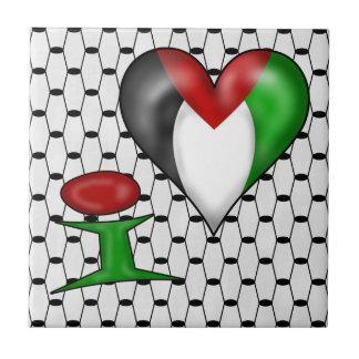Amo el corazón Palestina de Palestina I Azulejo Cuadrado Pequeño