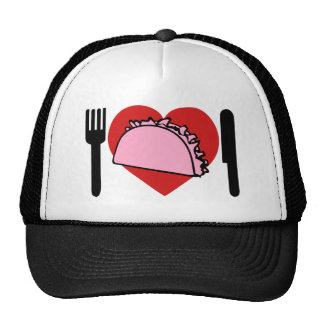 Amo el corazón para comer la bifurcación rosada de gorros bordados