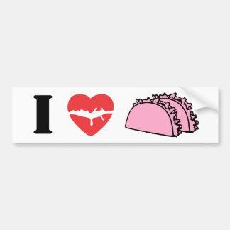 Amo el corazón para comer los labios rosados del T Pegatina Para Auto