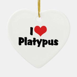 Amo el corazón Platypus Adorno Navideño De Cerámica En Forma De Corazón