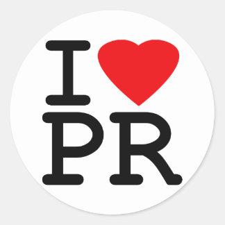 Amo el corazón Puerto Rico Etiquetas Redondas