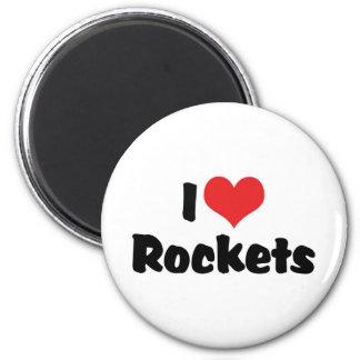 Amo el corazón Rockets - exploración espacial Imán Redondo 5 Cm