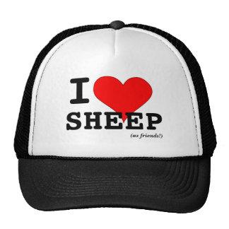 Amo el corazón rojo grande de las ovejas (como gorros
