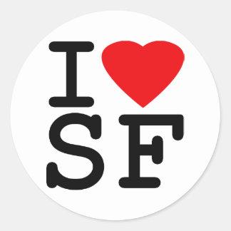 Amo el corazón San Francisco Etiquetas Redondas