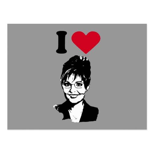 Amo el corazón Sarah Palin de Sarah Palin/I Tarjeta Postal