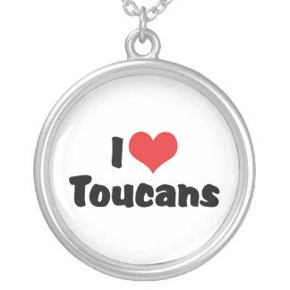 Amo el corazón Toucans - amante del pájaro Collar Plateado