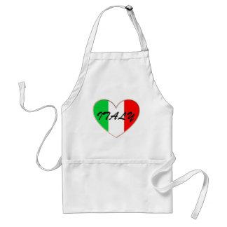 Amo el corazón y la bandera de Italia Delantal