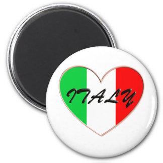 Amo el corazón y la bandera de Italia Imán Redondo 5 Cm