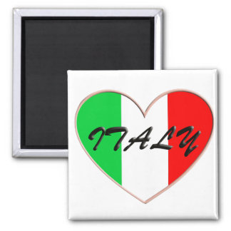 Amo el corazón y la bandera de Italia Imán Cuadrado