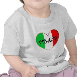Amo el corazón y la bandera de Italia Camiseta