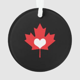 Amo el corazón y la hoja de arce de Canadá