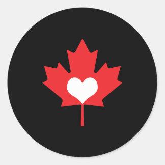 Amo el corazón y la hoja de arce de Canadá Pegatina Redonda