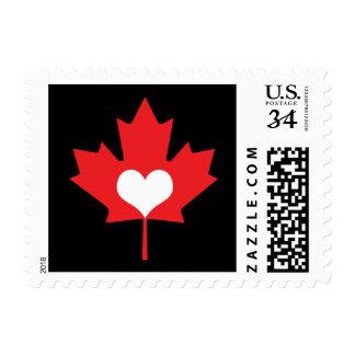Amo el corazón y la hoja de arce de Canadá Sello Postal