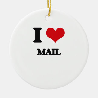 Amo el correo adorno redondo de cerámica
