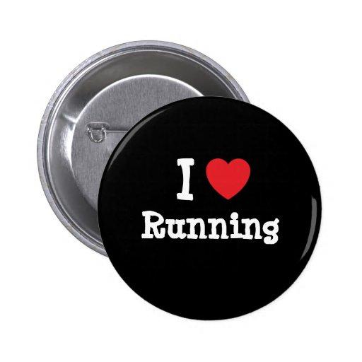Amo el correr del personalizado del corazón person pin redondo de 2 pulgadas
