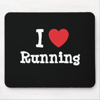 Amo el correr del personalizado del corazón person alfombrilla de ratones