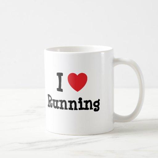 Amo el correr del personalizado del corazón taza