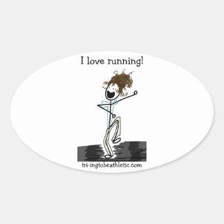 ¡Amo el correr! pegatinas ovales