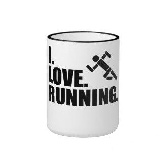 Amo el correr taza a dos colores