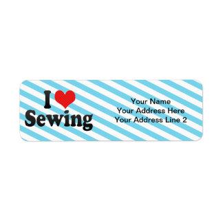 Amo el coser etiqueta de remitente