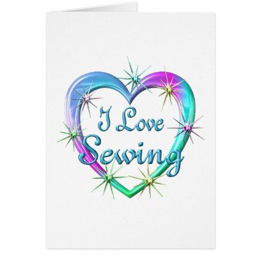 Amo el coser tarjeta de felicitación