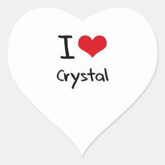 Amo el cristal calcomanías de corazones