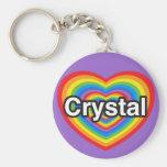 Amo el cristal. Te amo cristal. Corazón Llavero
