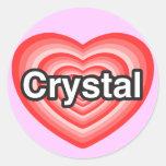Amo el cristal. Te amo cristal. Corazón Pegatina Redonda
