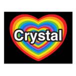 Amo el cristal. Te amo cristal. Corazón Tarjetas Postales