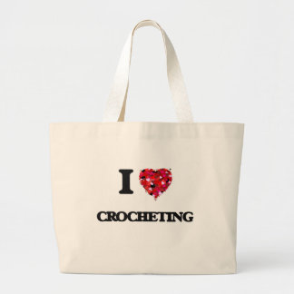 Amo el Crocheting Bolsa Tela Grande