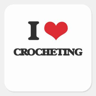 Amo el Crocheting Pegatina Cuadrada