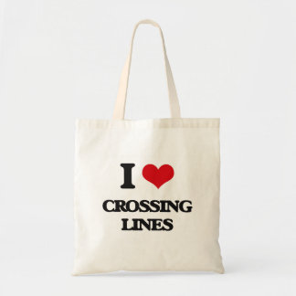 Amo el cruzar de líneas bolsa lienzo