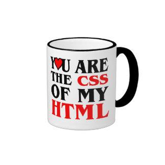 Amo el CSS/LE SOY EL CSS DE MI HTML/CORAZÓN Taza De Dos Colores