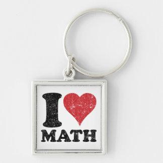 Amo el cuadrado de la matemáticas (del corazón), llavero cuadrado plateado