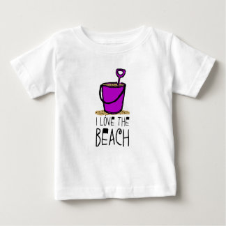 Amo el cubo de la arena de la playa playera de bebé