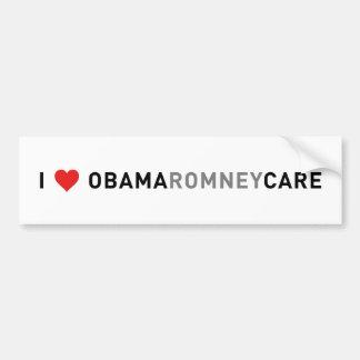 ¡Amo el cuidado de Obama Romney Pegatina De Parachoque