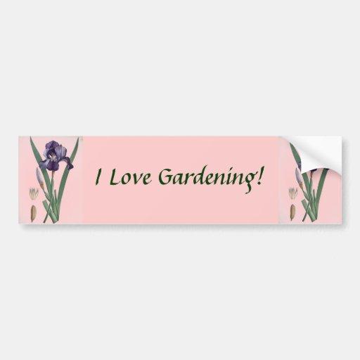 ¡Amo el cultivar un huerto! Pegatina para el parac Etiqueta De Parachoque