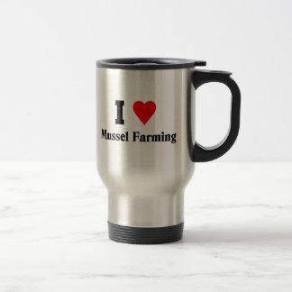 Amo el cultivo del mejillón taza de viaje de acero inoxidable