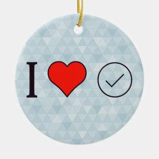 Amo el dar de mi aprobación adorno navideño redondo de cerámica