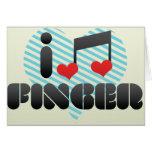Amo el dedo tarjetas