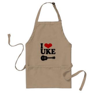 Amo el delantal del Ukulele de Uke