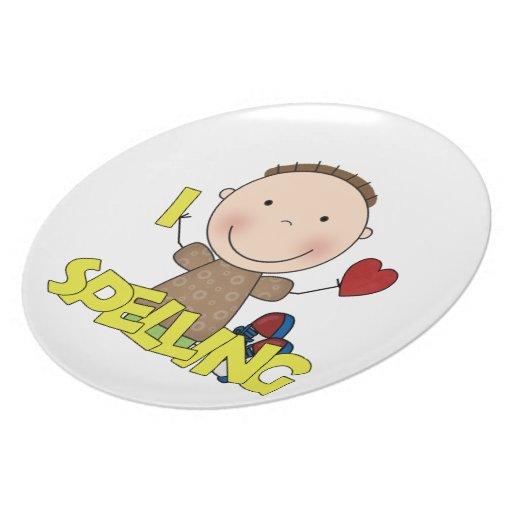 Amo el deletrear de la placa de los niños de la di plato para fiesta