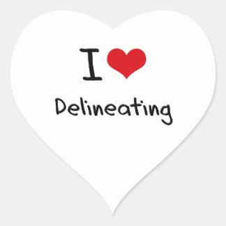 Amo el delinear pegatinas de corazon