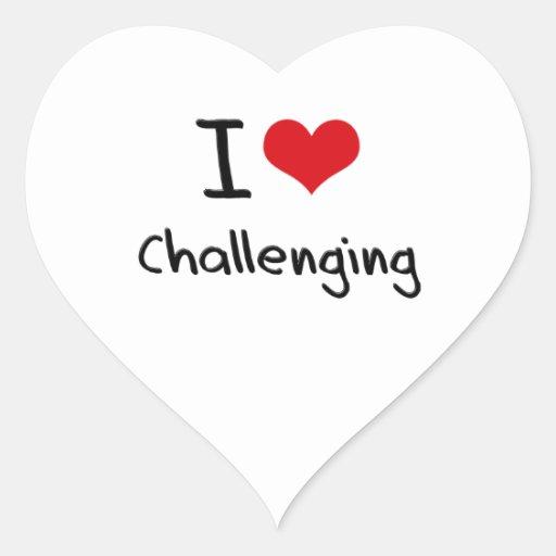 Amo el desafiar pegatinas de corazon personalizadas