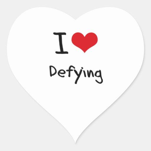 Amo el desafiar pegatina corazón personalizadas